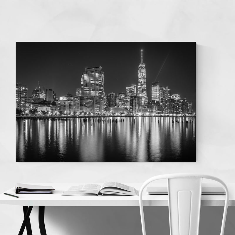 Black White New York Skyline NYC Canvas Art Print