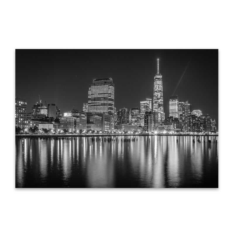 Black White New York Skyline NYC Metal Art Print