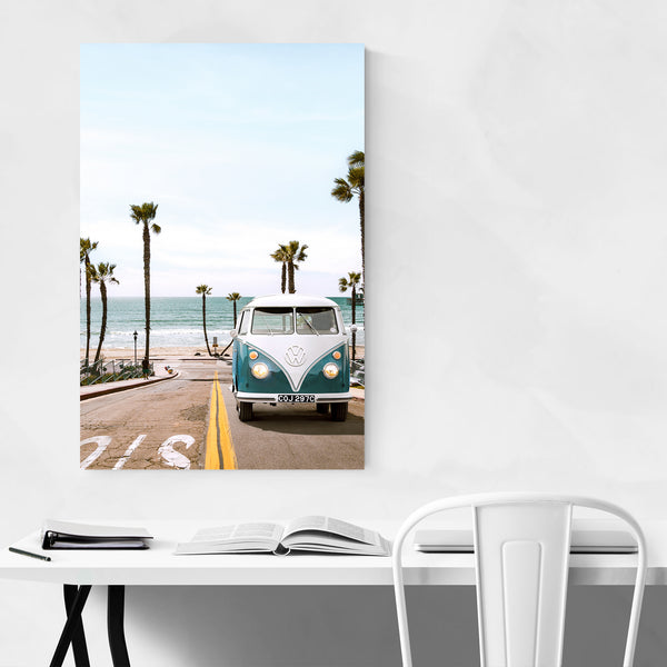 VW Van Beach Coastal Palm Tree Art Print