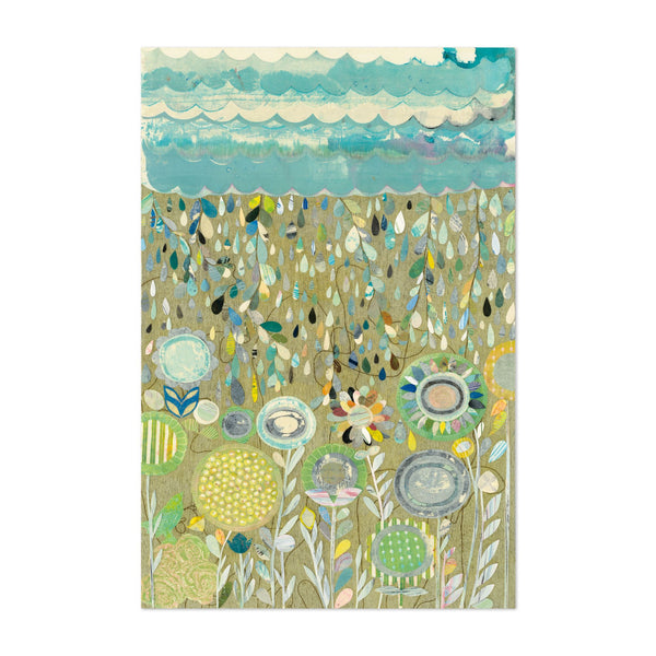 Rural Floral Abstract Rain Collage Art Print
