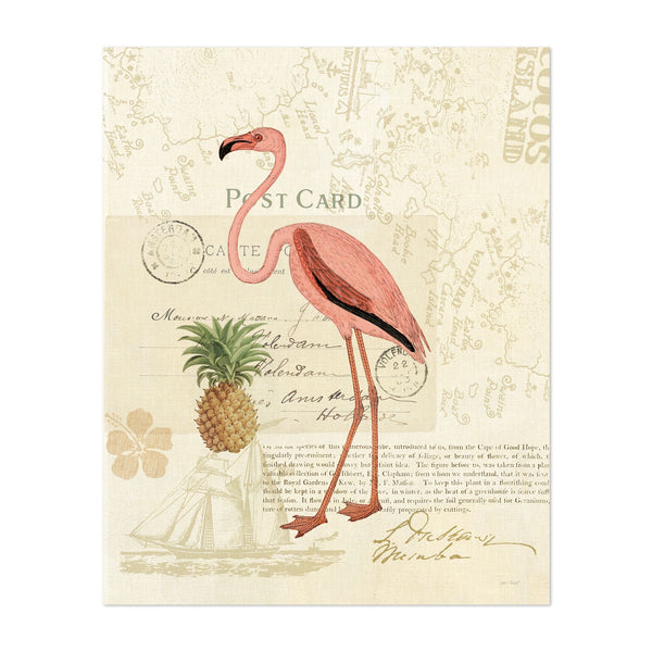 Florida Birds Beach Floral Beach Flamingo Art Print