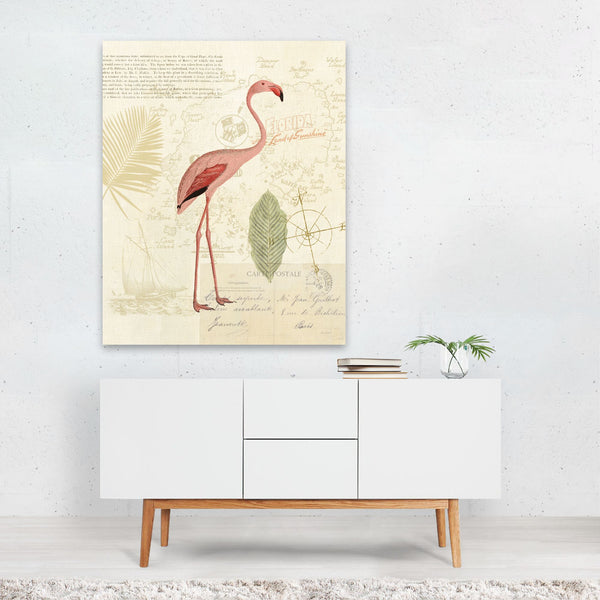 Birds Beach Floral Beach Flamingo Banana Art Print