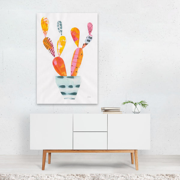 Floral Cactus Succulents Collage Art Print