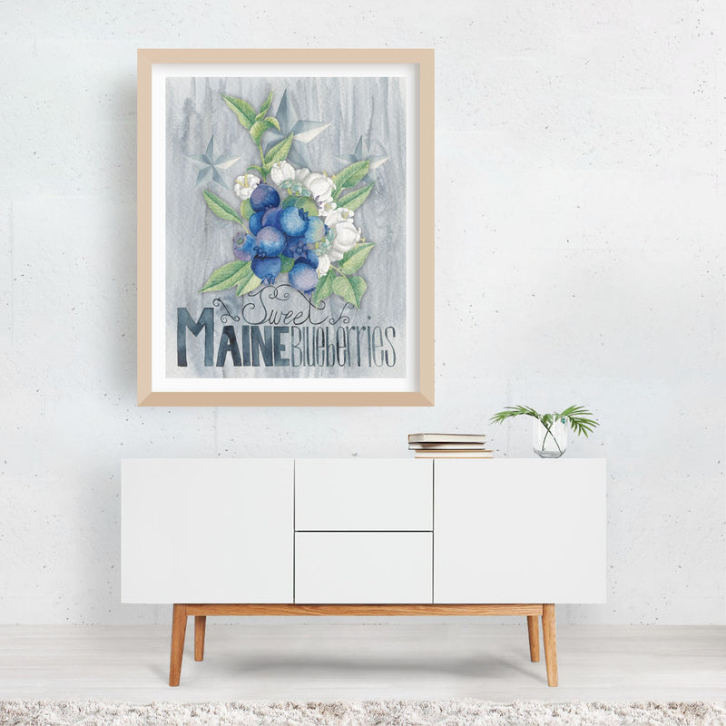 Maine Kitchen Fruit Illustration Framed Art Print