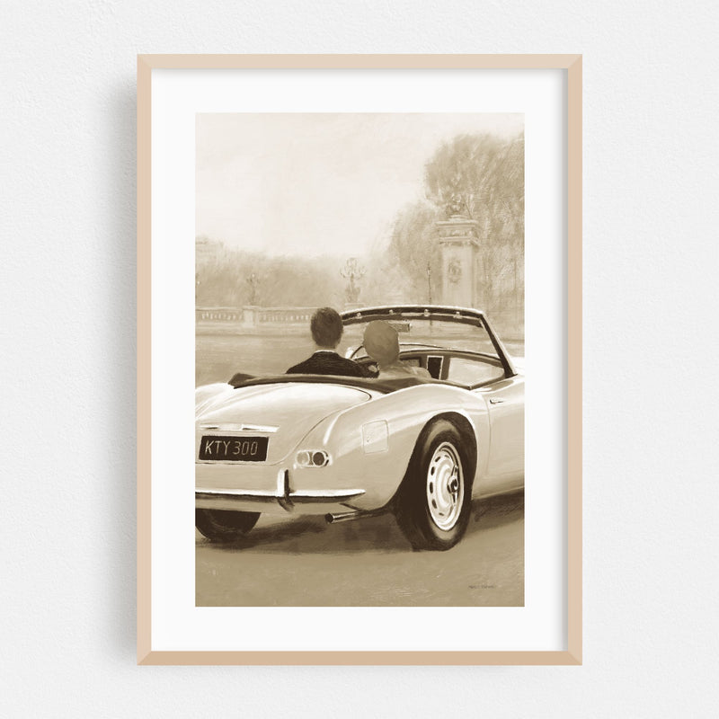 Paris France Cars Illustration Framed Art Print