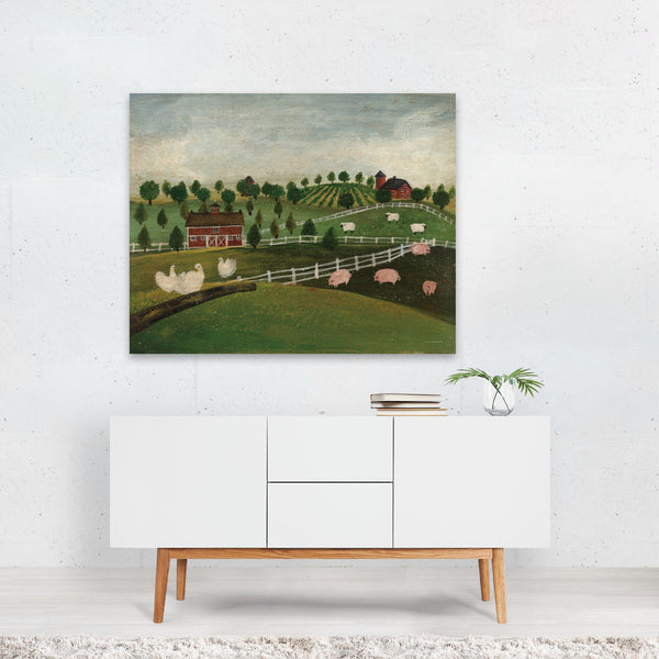 Rural Still Life Pig Sheep Geese Art Print