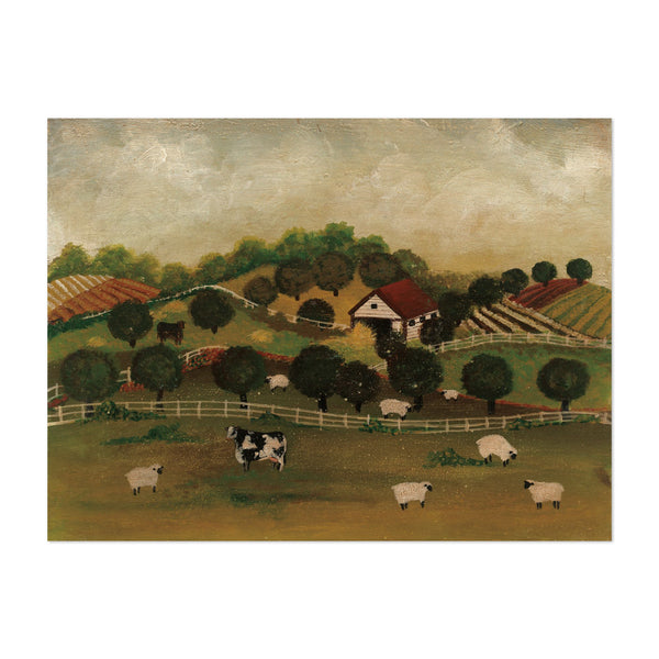 Rural Cow Still Life Sheep Art Print