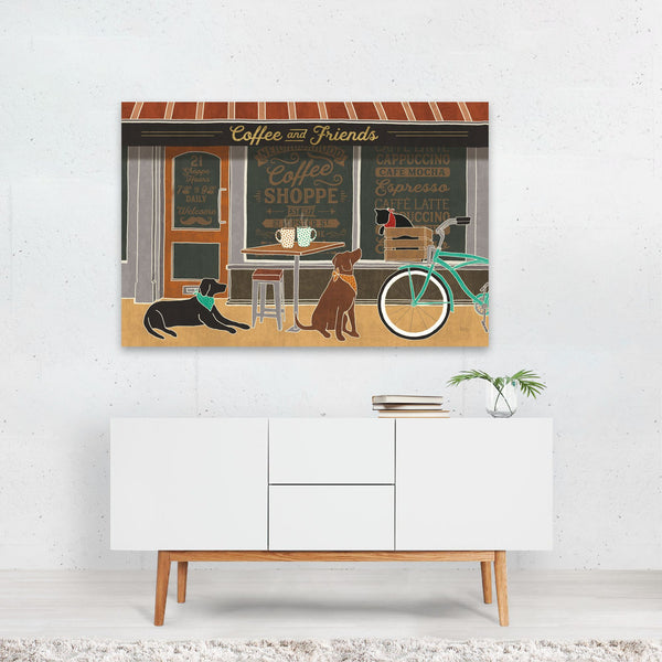 Dog Cat Bicycle Cycling Coffee Friends Art Print