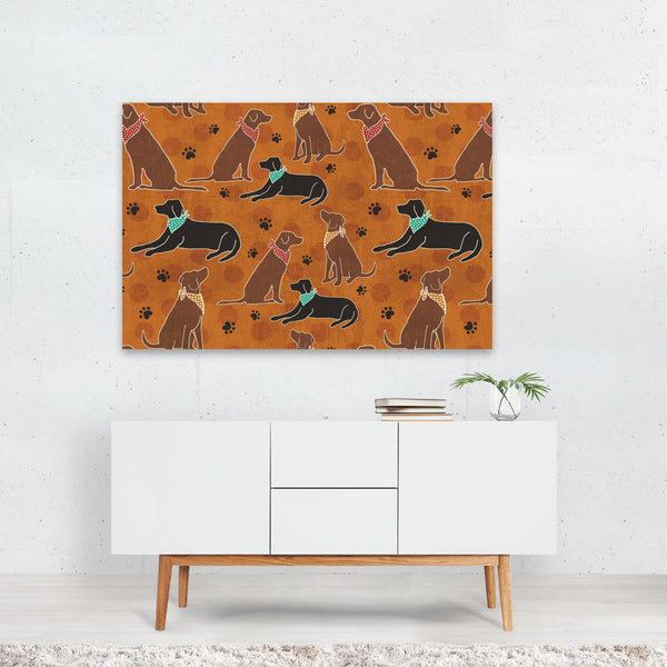 Dog Patterns Coffee Friends Art Print