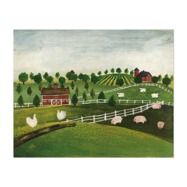 Rural Pig Sheep Geese Illustration Art Print