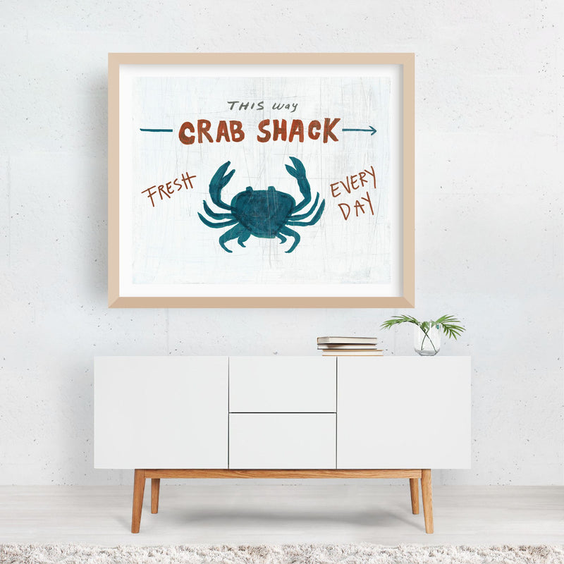 Animals Crab Crabs Nature Typography Framed Art Print