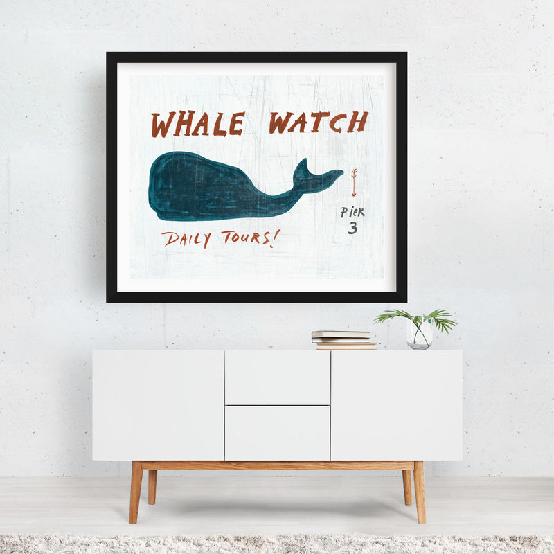 Animals Whale Nature Typography Framed Art Print