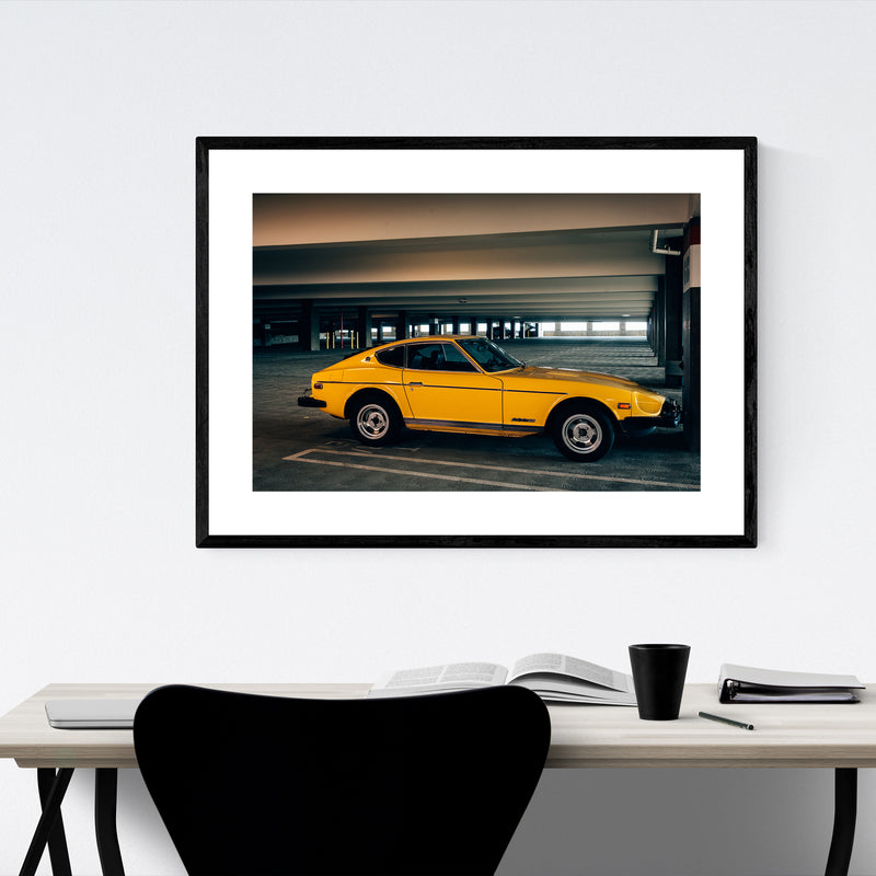 Vintage Yellow Car Nissan 280Z Framed Art Print
