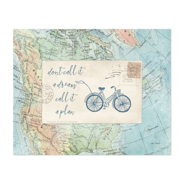 Bicycle Maps Cycling Motivational Map Art Print