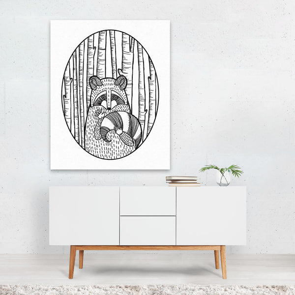 Forest Raccoon Friends Illustration Art Print