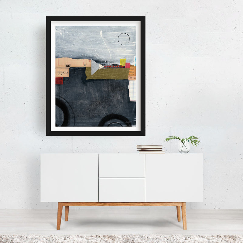 Abstract Circles Collage Framed Art Print