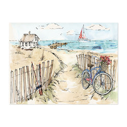 Beach Bicycle Nautical Boat Cycling Art Print