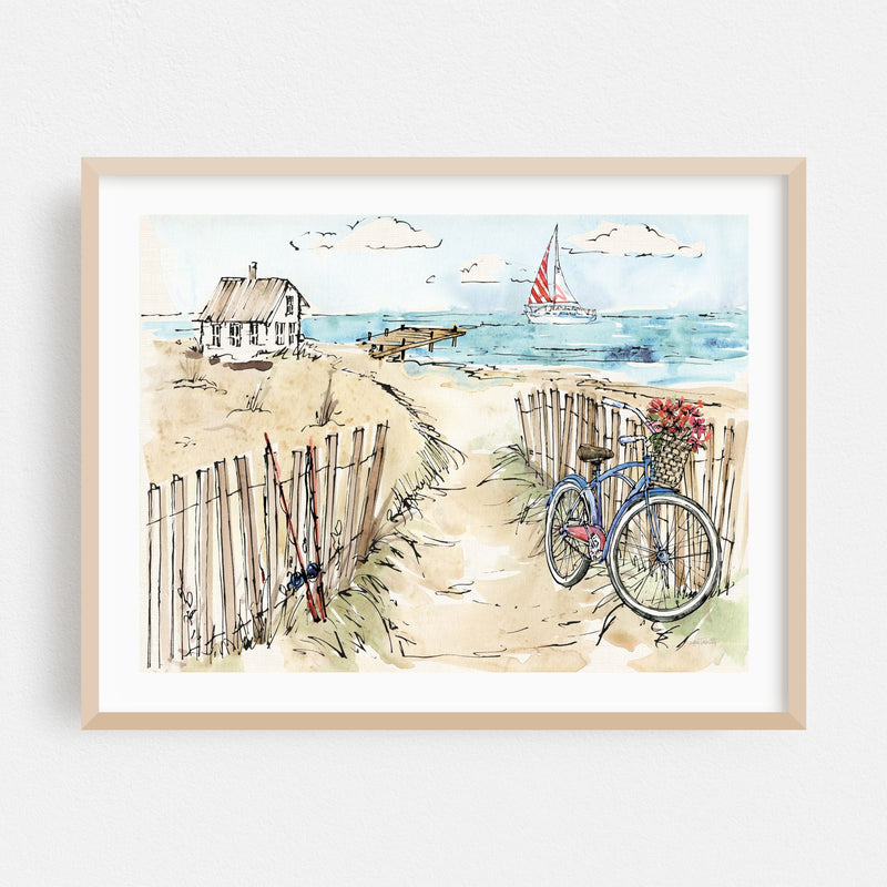 Beach Bicycle Nautical Boat Cycling Framed Art Print