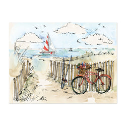 Coastal Art  Print of Watercolor Painting Bicycle on the Beach Painting