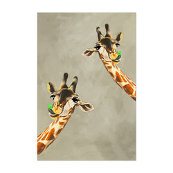 Funny Giraffes Looking Painting Art Print