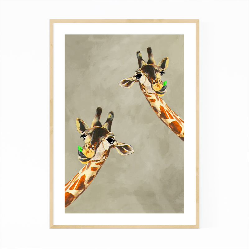 Funny Giraffes Looking Painting Framed Art Print