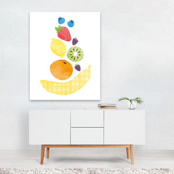 Fruit Lemon Kiwi Strawberries Banana Art Print