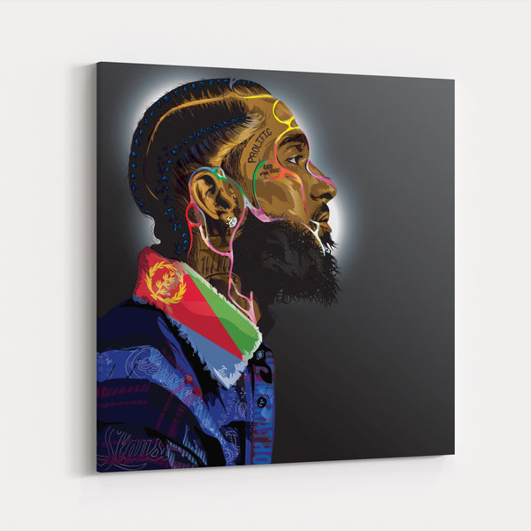 Head Illustration Music Nipsey Hussle Canvas