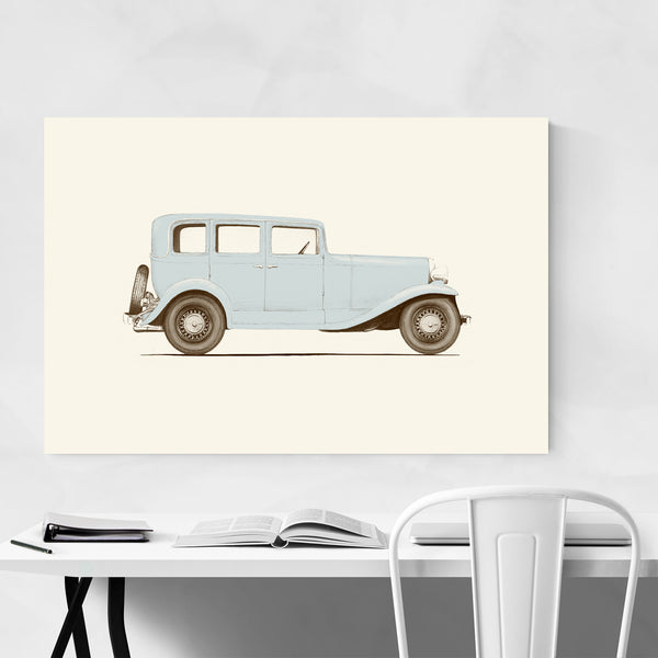 Vintage Blue Car 1930's Retro Art Print