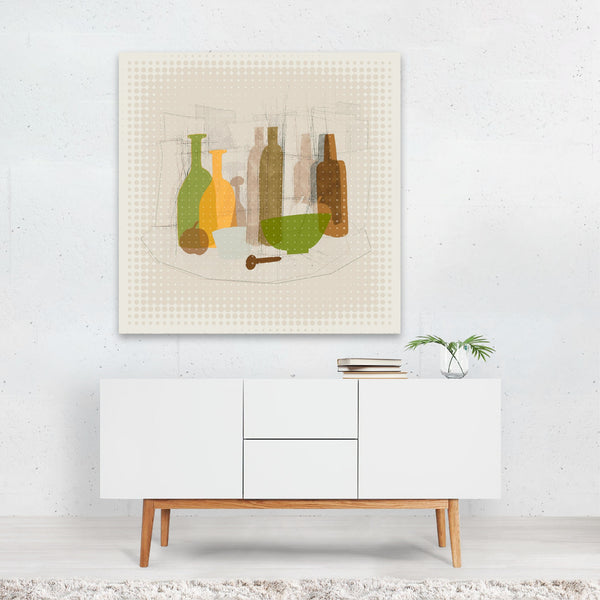 France Abstract Alcohol Bottle Canvas