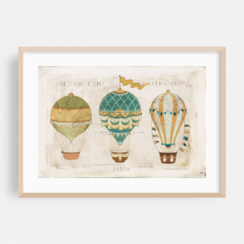 Paris France Flags Maps Balloons Framed Art Print