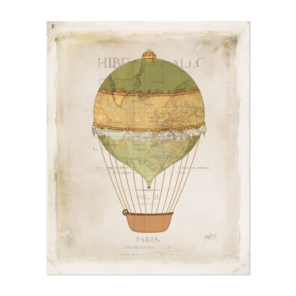 Paris France Retro Aircraft Balloons Art Print