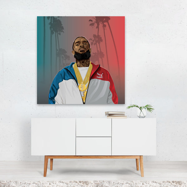 Music Nipsey Hussle Palm Trees Canvas