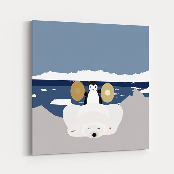 Antarctica Bear Children's Art Humor Canvas
