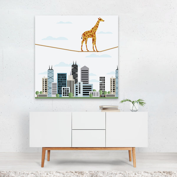 Animals Children's Art City Giraffe Canvas
