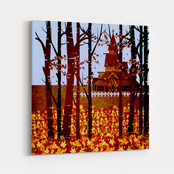 Norway Autumn Churches Temples Historic Canvas