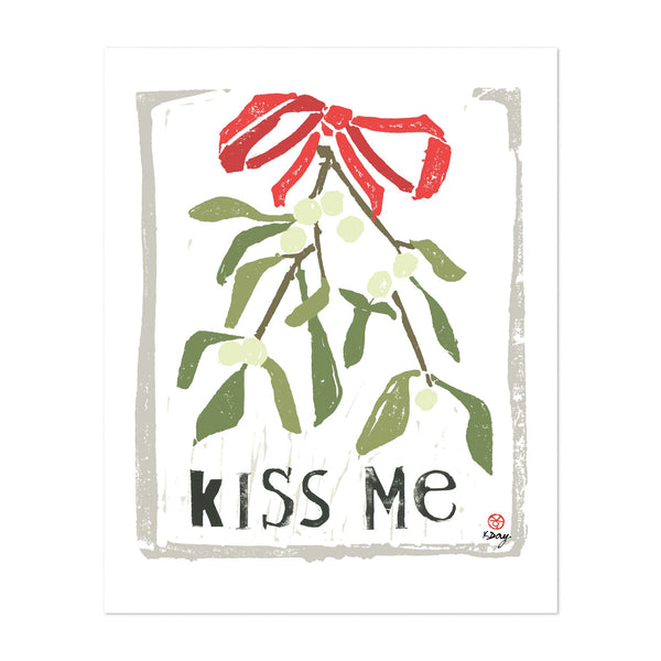Winter Holiday Music Kiss Typography Art Print