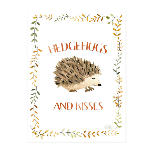Forest Love Music Hedgehog Hog Kiss Art Print
