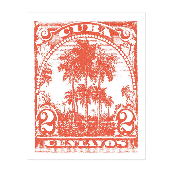 Cuba Palm Trees Illustration Art Print