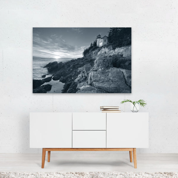 Acadia Maine Beach Lighthouse Nautical Art Print