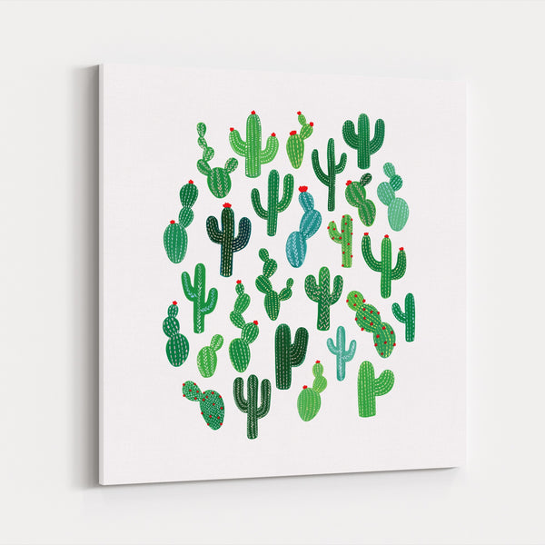 Cactus Cute Desert Family Canvas