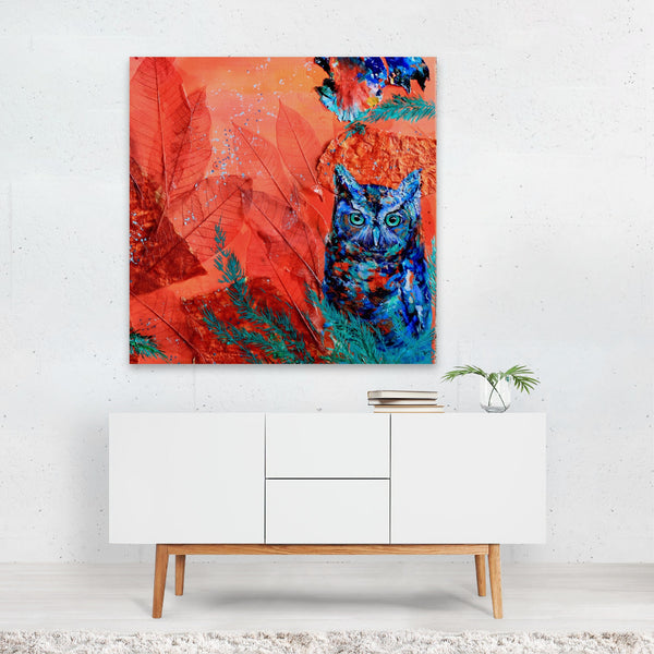 Animals Modern Owl Psychedelic Painting Canvas
