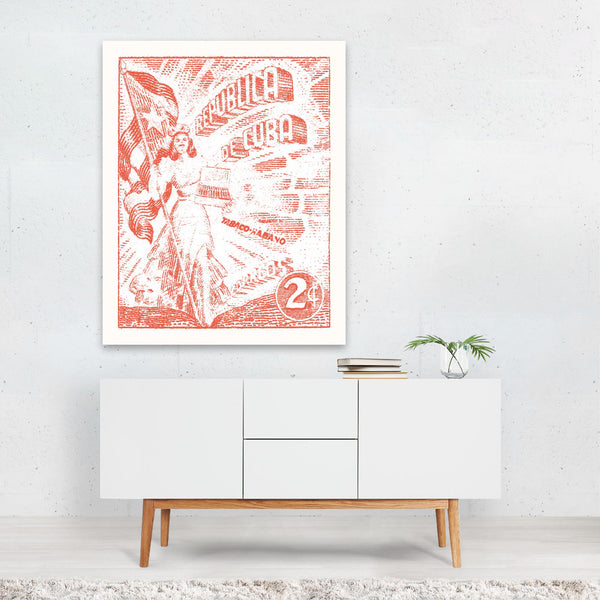 Cuba Flags Retro Illustration Art Print