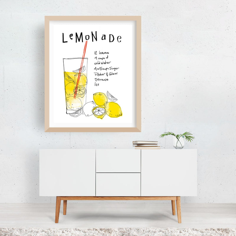 Kitchen Lemon Typography Framed Art Print