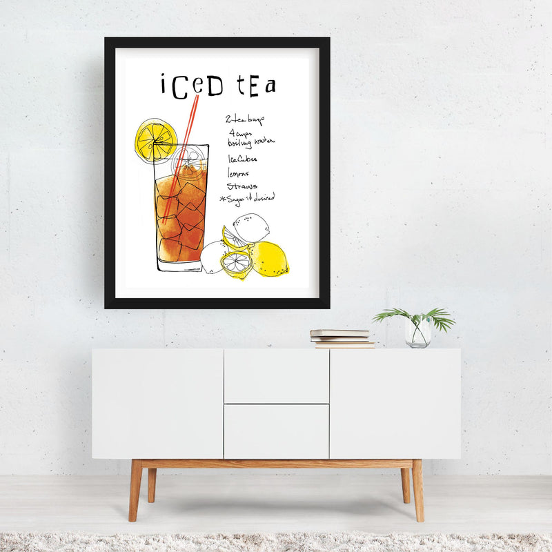 Kitchen Lemon Tea Typography Framed Art Print