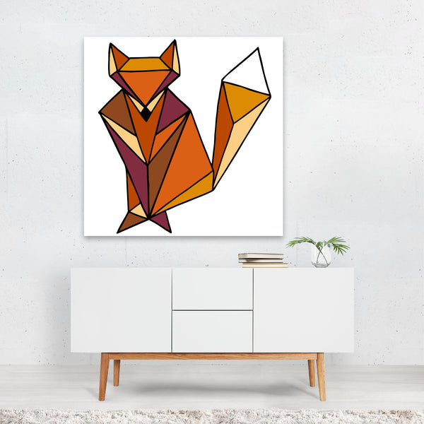 Abstract Animals Forest Fox Geometric Canvas