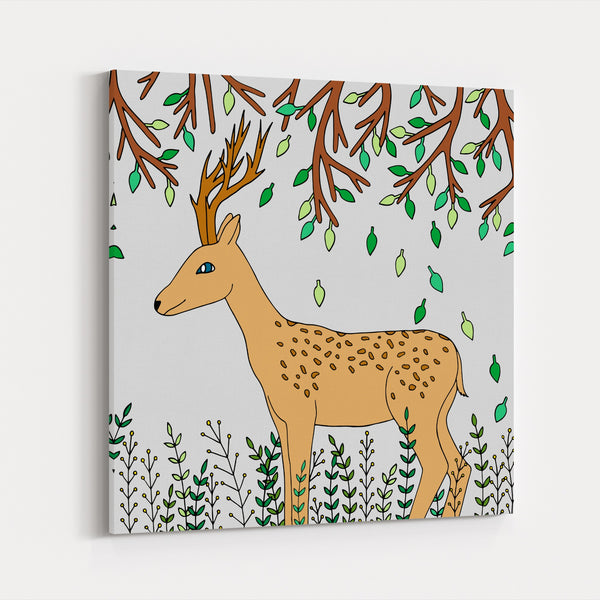 Animals Bambi Botanical Camping Deer Canvas