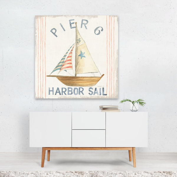 Beach Boats Nautical Pier Summer Canvas