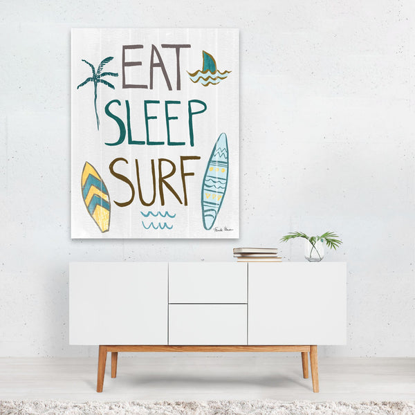 Beach Waves Palm Trees Shark Surfing Art Print