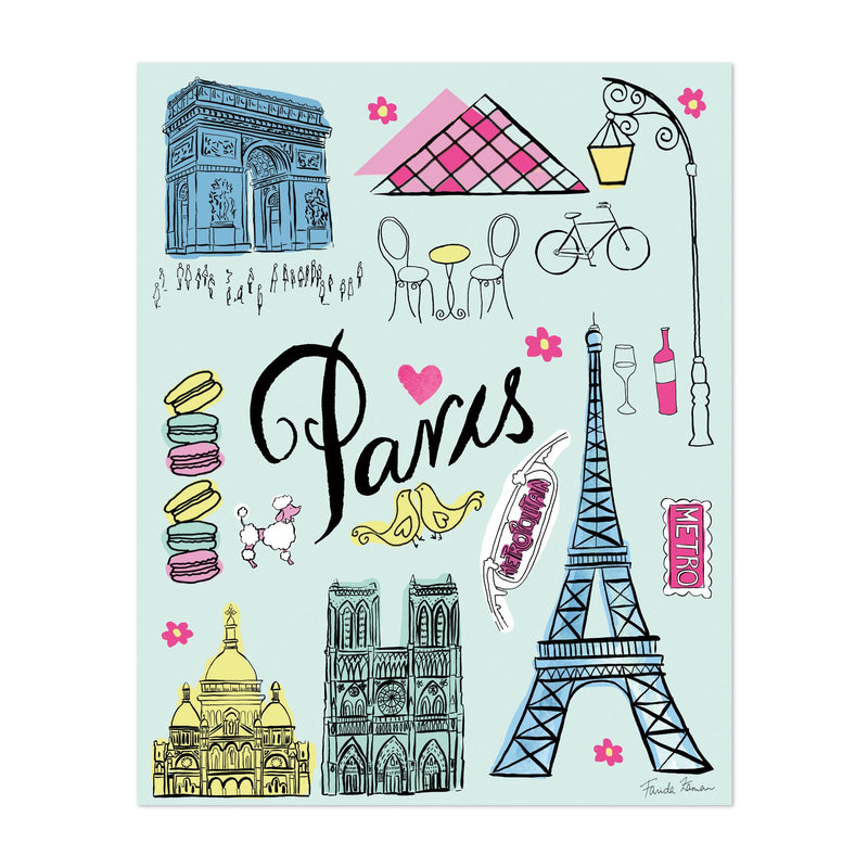 Paris France Eiffel Tower Notre Dame Art Print