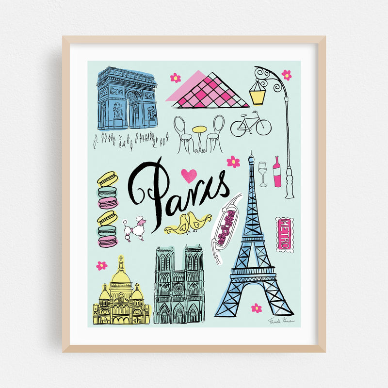 Paris France Eiffel Tower Notre Dame Framed Art Print